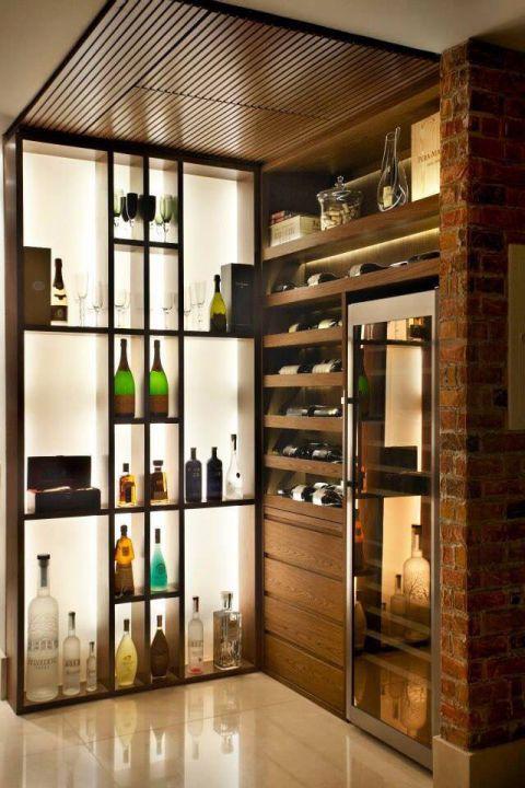 客厅黑色酒柜装饰效果图
