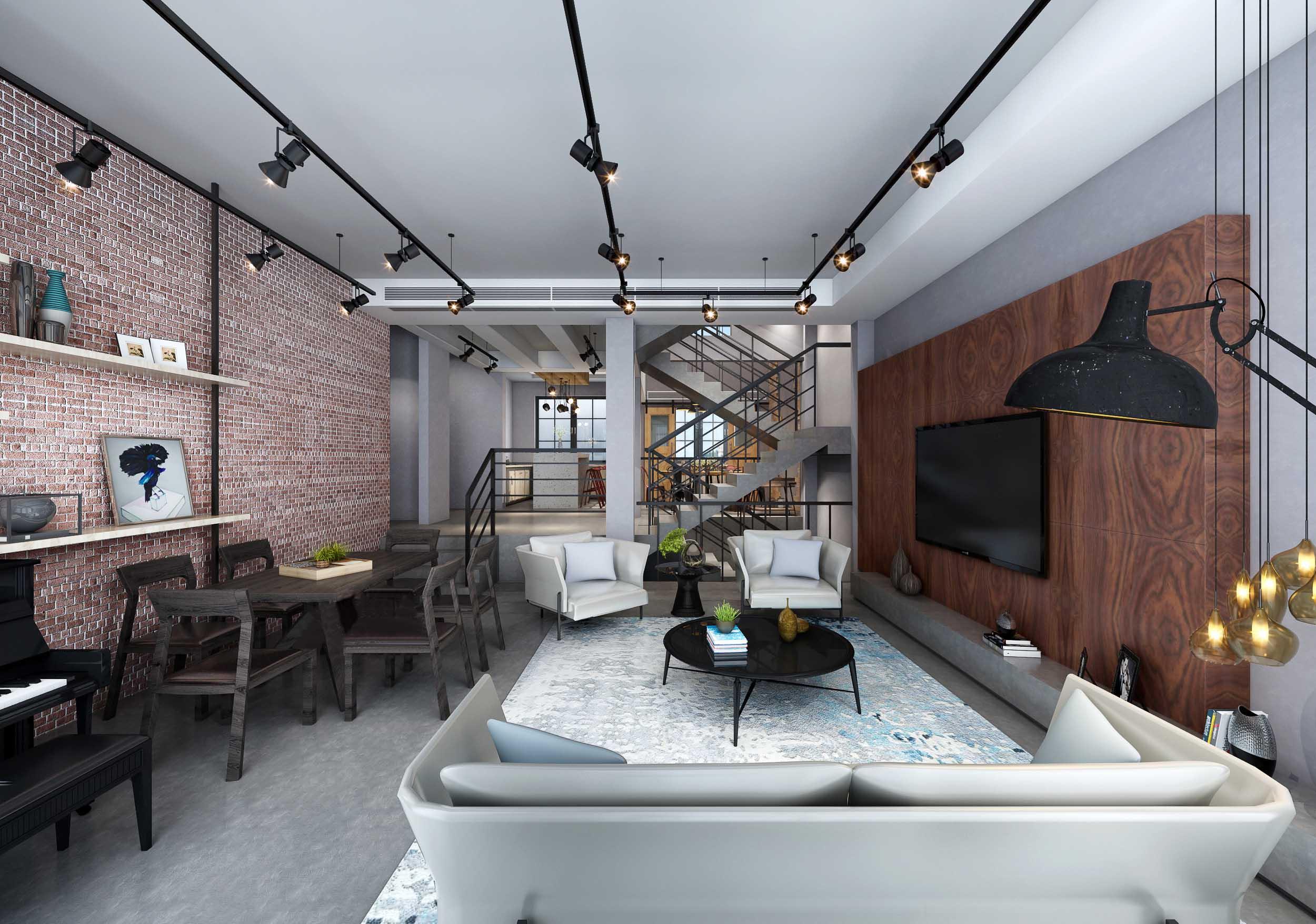 褐色loft混搭效果图