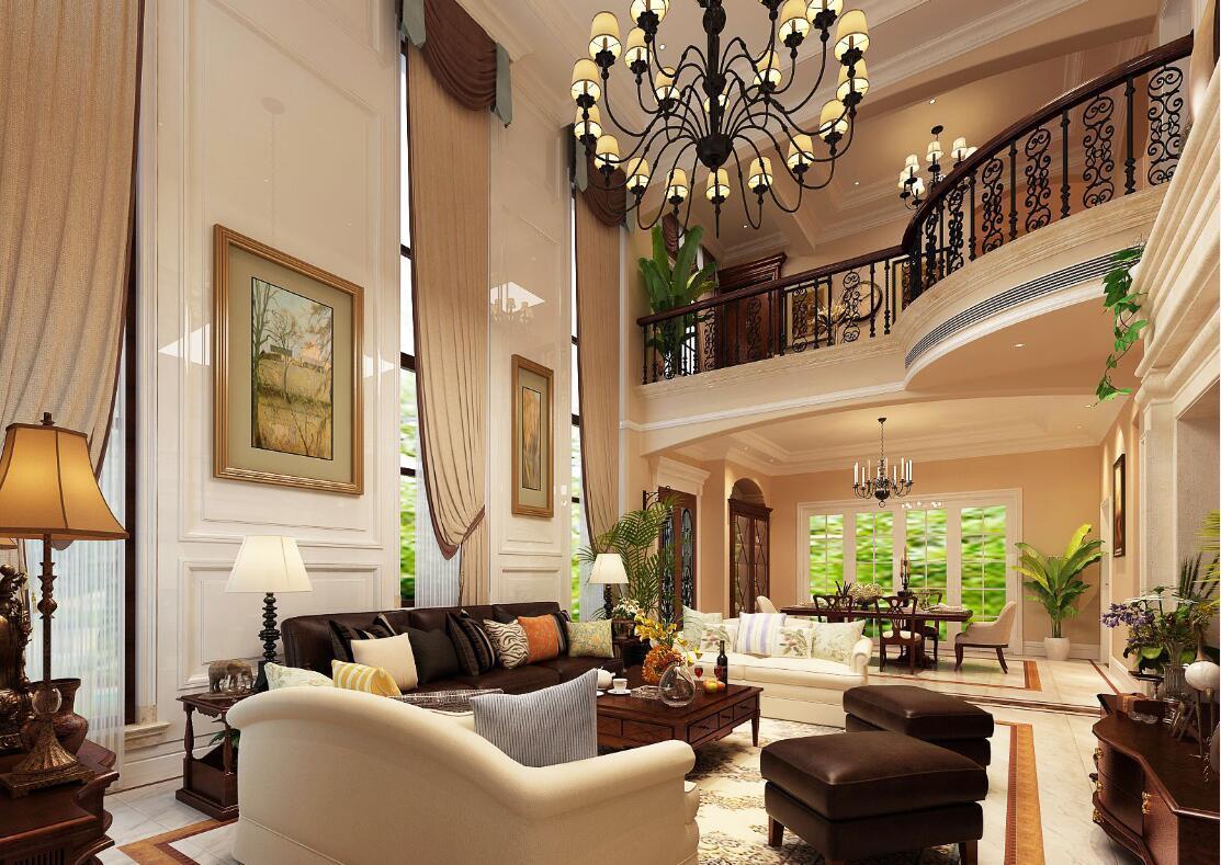 美式别墅大厅效果图